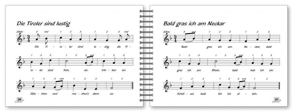 Voggy's Blockflötenschule Band 2 - Beispielseiten 30 und 31