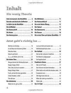 Die neue Blockflötenschule - Inhaltsverzeichnis 1