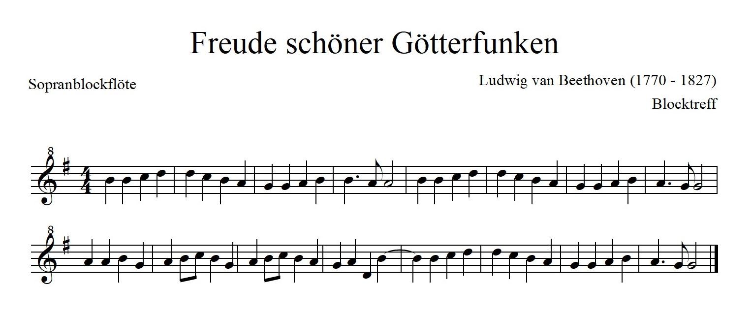 Freude schöner Götterfunken Noten in G-Dur