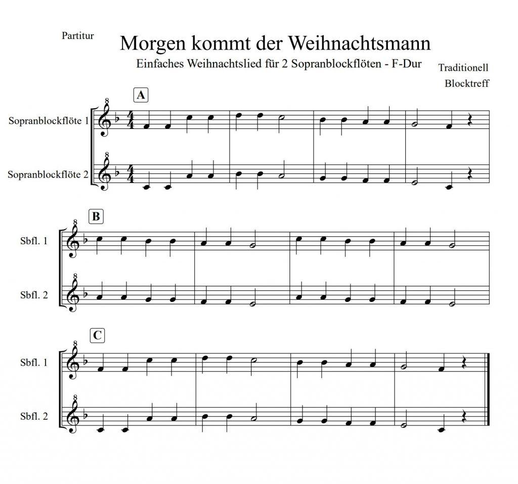 Morgen kommt der Weihnachtsmann Duett Noten in F-Dur