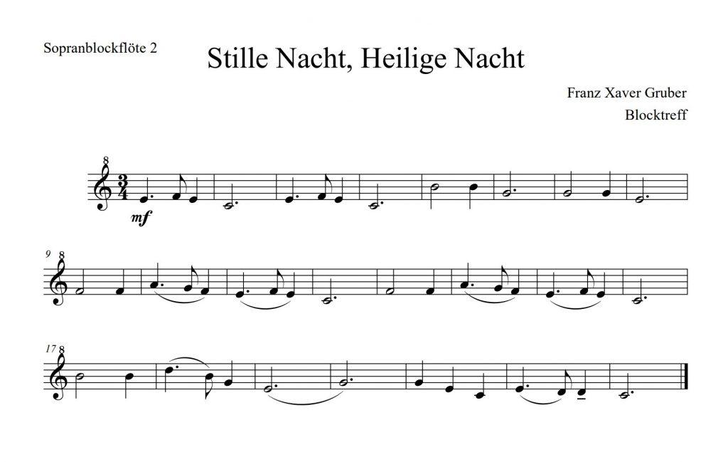 Stille Nacht Noten für Blockflöte Stimme 2